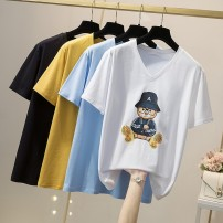 T-shirt Blue, green, yellow, black, white, pink L,XL,2XL,3XL,4XL Summer 2021 Short sleeve Crew neck easy Regular routine commute cotton 96% and above 18-24 years old Simplicity Solid color