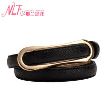 Belt / belt / chain Double skin leather Light Blue Brown Beige red black female belt leisure time Single loop Smooth button Geometric pattern Frosting 1.5cm alloy alone Nalan jacquard G045 Spring 2014