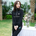 Women's large Spring 2021 Sweater / sweater Two piece set commute easy moderate Socket Long sleeves Korean version stand collar routine Polyester cotton Three dimensional cutting routine Simple implication 40-49 years old zipper Cotton 80% polyethylene terephthalate (polyester) 20% trousers