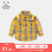 shirt Huang Ge Zi Ge Lan Ge Huang Lan Ge Zi Ge 016038 Huang Ge 016038 Rabbi tree male 73cm 80cm 90cm 100cm 110cm 120cm 130cm 140cm spring and autumn Long sleeves leisure time lattice cotton Lapel and pointed collar Cotton 100% other Autumn of 2019