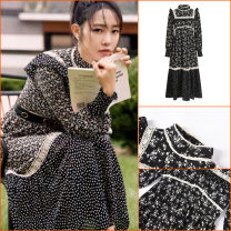 Dress Summer 2021 H07146 black S,M,L longuette singleton  Long sleeves stand collar Loose waist Broken flowers Socket Pleated skirt routine Others 18-24 years old Zoelli Ruffles, stitching H07146 91% (inclusive) - 95% (inclusive) other other