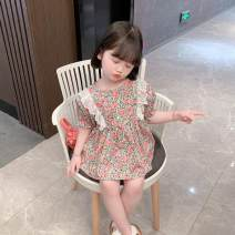 Dress Pink, violet female Other / other 90cm,100cm,110cm,120cm,130cm Other 100% summer college Broken flowers cotton Cake skirt Class B 12 months, 18 months, 2 years, 3 years, 4 years, 5 years, 6 years, 7 years, 6 months, 9 months