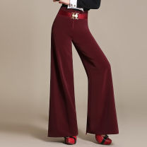 Casual pants Dark green thick, jujube red thick, black thick, red thick, dark green thin, jujube red thin, black thin, red thin 27,28,29,30,31,32,33,34 Spring 2020 trousers Wide leg pants High waist Other styles routine 35-39 years old 91% (inclusive) - 95% (inclusive) SE801 Yueyuan polyester fiber