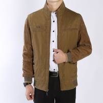 Jacket Leopard Wolf Business gentleman Khaki, khaki, army 50. XL, XXL, XXXL, XXXXL Plush and thicken Self cultivation Other leisure winter Long sleeves Wear out stand collar Business Casual old age routine Zipper placket Straight hem other Solid color corduroy Color matching Side seam pocket cotton