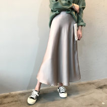 skirt Spring 2021 S,M,L Mid length dress commute High waist A-line skirt Solid color Type A 18-24 years old More than 95% other Other / other polyester fiber Splicing Korean version