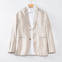man 's suit Grey, Navy, beige Others Fashion City thin M,L,XL,2XL,3XL SY-19516 Self cultivation Double breasted Other leisure Back middle slit youth Long sleeves summer routine Basic public Casual clothes Flat lapel Straight hem Solid color Narrow collar (below 7cm) 2019 Three dimensional bag hemp