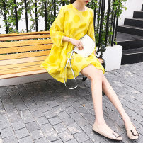 Dress Summer of 2018 yellow SML Mid length dress singleton  Nine point sleeve commute Crew neck High waist Decor Socket A-line skirt routine Others 18-24 years old Type A Ivancina Korean version Polyester 100% Pure e-commerce (online only)