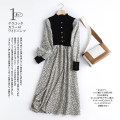 Dress Winter 2020 Grey, light Average size longuette singleton  Long sleeves commute Decor A-line skirt Type A printing