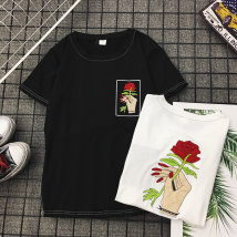 T-shirt White black XXS M L XL 2XL Summer of 2018 Short sleeve Crew neck easy routine commute polyester fiber 51% (inclusive) - 70% (inclusive) Korean version originality Plants and flowers Other / other Embroidery