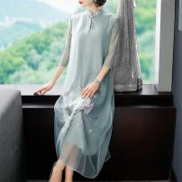 Dress Summer 2020 Red and grey M L XL XXL Mid length dress singleton  three quarter sleeve commute stand collar Loose waist Decor Single breasted Big swing routine Breast wrapping 25-29 years old Type H Villeanx ethnic style Embroidery More than 95% organza  polyester fiber Polyester 100%