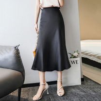 skirt Summer 2020 S,M,L,XL Mid length dress commute High waist A-line skirt Solid color Type A 51% (inclusive) - 70% (inclusive) Silk and satin silk Splicing Korean version 101g / m ^ 2 (including) - 120g / m ^ 2 (including)