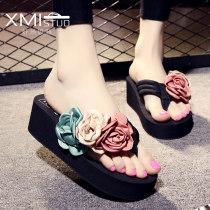 slipper three thousand three hundred and thirty-four trillion and three hundred and fifty-three billion six hundred and thirty-seven million three hundred and eighty-three thousand nine hundred and forty Xmistuo / shrimp Situo Slope heel High heel (5-8cm) cloth Summer 2017 flip flops EVA foam daily