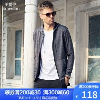 Sweater Youth fashion Enjeolon / enjeolon Flower grey flower grey (plush) 165/S 170/M 175/L 180/XL 185/XXL 190/XXXL Solid color Cardigan routine Hood autumn Straight cylinder leisure time youth Simplicity in Europe and America routine WY116 No iron treatment Autumn of 2019 Side seam pocket zipper
