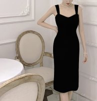 Dress Summer 2021 black S, M Mid length dress singleton  commute High waist Solid color Socket A-line skirt camisole 18-24 years old 71% (inclusive) - 80% (inclusive) other nylon
