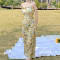 Dress Spring 2020 Yellow oil painting S,M,L