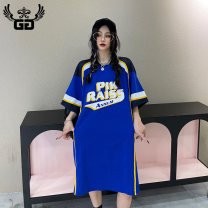 Dress Summer 2021 Blue (111156) S M longuette singleton  Short sleeve street Crew neck Loose waist letter Socket other routine 18-24 years old Type H GG printing More than 95% cotton Cotton 100% Same model in shopping mall (sold online and offline) Sports & Leisure