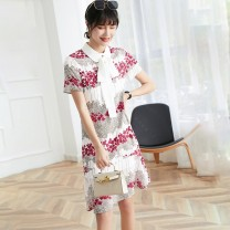 Dress Summer 2021 gules S M L longuette singleton  Short sleeve commute other High waist Broken flowers zipper A-line skirt other Others 25-29 years old Aihonxy / AI Hongxi Korean version Print stitching More than 95% other other Other 100%