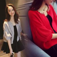 Women's large Spring 2021, summer 2021, autumn 2021 Red shawl + short skirt, grey shawl + short skirt, single [short skirt], single red shawl, single grey shawl, single [long skirt], red shawl + long skirt, grey shawl + long skirt Dress Two piece set commute Self cultivation moderate Solid color