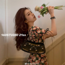 Dress Spring 2021 Decor S. M, l, s pre 7-9 working days, Zhuang code, m pre 7-9 working days, l pre 7-9 working days Mid length dress other Short sleeve commute square neck High waist Decor A-line skirt puff sleeve Others 18-24 years old Other / other Korean version SK21040060 other cotton