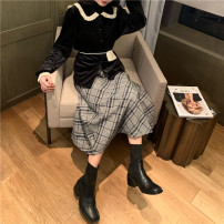 skirt Winter of 2019 S,M,L Mid length dress commute High waist Splicing style lattice Type A 18-24 years old Light tweed Other / other Korean version