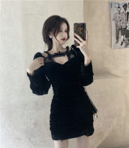 Dress Winter 2020 Red, black Average size Short skirt Long sleeves square neck puff sleeve