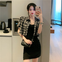 Dress Summer 2020 Purple dress, black dress, Purple Plaid suit, Black Plaid suit Average size Short skirt singleton  commute Others Tagkita / she and others Korean version 7268# 31% (inclusive) - 50% (inclusive) other nylon