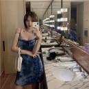 Dress Summer 2020 Tie Dye BLUE Average size Short skirt singleton  Sleeveless Sweet V-neck High waist Socket camisole Type A 91% (inclusive) - 95% (inclusive) other cotton