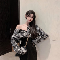 Dress Autumn 2020 S, M Short skirt Fake two pieces Long sleeves commute other High waist lattice double-breasted A-line skirt shirt sleeve Others 18-24 years old Type A Other / other Simplicity Stitching, asymmetry, buttons More than 95% brocade other