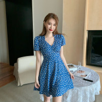 Dress Summer 2020 FAIRY BLUE S, M Mid length dress singleton  Short sleeve commute V-neck High waist Decor zipper A-line skirt puff sleeve Others 18-24 years old Type A Other / other Korean version Pleated, zipper 51% (inclusive) - 70% (inclusive) other other