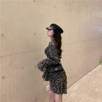 Dress Winter of 2019 Picture color S, M Miniskirt singleton  Long sleeves commute V-neck Type A Other / other Ol style