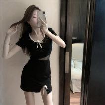 Dress Spring 2021 black S,M,L Short skirt Short sleeve Crew neck A-line skirt routine 18-24 years old