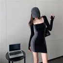 Dress Winter 2020 black Average size Short skirt singleton  Long sleeves square neck High waist Socket One pace skirt routine Type H 7538# 71% (inclusive) - 80% (inclusive) knitting cotton