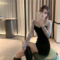 Dress Winter 2020 black M, L Short skirt singleton  Long sleeves commute Crew neck High waist Solid color Socket A-line skirt routine Others 25-29 years old Korean version Splicing 81% (inclusive) - 90% (inclusive) other polyester fiber
