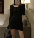 Dress Spring 2021 Gray, black Average size Short skirt singleton  Long sleeves square neck High waist Socket One pace skirt routine Type H 7521# cotton