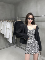 Fashion suit Autumn 2020 S, M Black and white suspender skirt, black coat 18-25 years old 8989# 91% (inclusive) - 95% (inclusive) polyester fiber