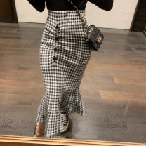skirt Autumn of 2019 Average size Black, apricot, black Mid length dress commute High waist A-line skirt lattice Type A 18-24 years old M-365 Other / other Korean version
