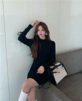 Dress Winter 2020 Khaki, grey, black Average size Short skirt singleton  Long sleeves Sweet High waist Socket Type A More than 95% knitting cotton