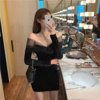 Dress Winter 2020 Black, pink M, L Short skirt singleton  Long sleeves commute Crew neck High waist Solid color Socket One pace skirt routine Type A Pleating