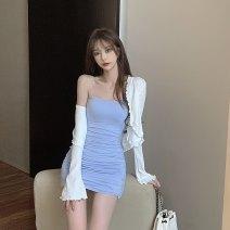 Dress Spring 2021 White cardigan, blue suspender skirt, pink suspender skirt Average size 6065#