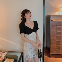 Dress Summer 2020 Picture color S, M Mid length dress singleton  Short sleeve One word collar High waist zipper puff sleeve Type A Lace 51% (inclusive) - 70% (inclusive) cotton
