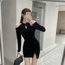 Dress Winter 2020 black Average size Short skirt singleton  Long sleeves commute stand collar High waist Solid color Socket One pace skirt routine polyester fiber