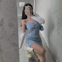 Dress Autumn 2020 Apricot, light blue, black Average size Short skirt singleton  Sleeveless commute V-neck High waist Solid color Socket One pace skirt routine camisole 18-24 years old Type H backless 672# polyester fiber