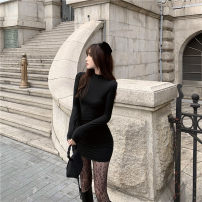 Dress Winter 2020 Purple, black Average size Short skirt singleton  Long sleeves commute Crew neck High waist Solid color Socket One pace skirt routine 18-24 years old 51% (inclusive) - 70% (inclusive) other