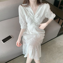 Dress Summer 2020 white Average size longuette singleton  commute V-neck Others Korean version 30% and below other other
