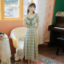 Dress Summer 2021 Green lattice S,M,L,XL longuette singleton  Short sleeve commute Admiral middle-waisted lattice zipper A-line skirt routine Others Type A literature Stitching, lace 30% and below brocade cotton