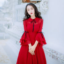 Dress Spring of 2019 gules S,M,L longuette singleton  Sleeveless commute Polo collar middle-waisted Dot zipper Big swing pagoda sleeve Others Type H literature 30% and below Chiffon polyester fiber