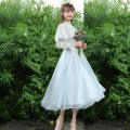Dress Autumn 2020 White with light blue S,M,L,XL longuette Fake two pieces Long sleeves commute stand collar middle-waisted Solid color zipper Big swing other Others Type A Splicing 30% and below other polyester fiber