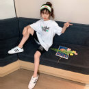 suit Rabbit treasure warm White cartoon leisure sports suit, black cartoon leisure sports suit 120cm,130cm,140cm,150cm,160cm,170cm female summer Korean version Short sleeve + pants 2 pieces Thin money There are models in the real shooting Socket nothing Cartoon animation cotton children TZ0347