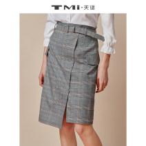 skirt Spring of 2019 S M L XL Grey grid Middle-skirt Versatile Natural waist Irregular lattice 25-29 years old 51% (inclusive) - 70% (inclusive) TMi polyester fiber Polyester fiber 64% viscose fiber (viscose fiber) 34% polyurethane elastic fiber (spandex) 2%