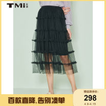 skirt Spring 2021 S M L black Mid length dress Versatile Natural waist Cake skirt Solid color 25-29 years old 91% (inclusive) - 95% (inclusive) TMi polyester fiber Polyester 95% polyurethane elastic fiber (spandex) 5%